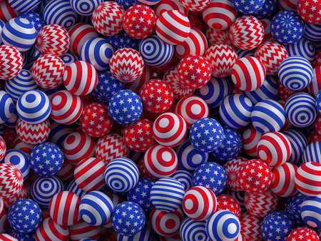 children party: 3d render, digital illustration, abstract background, USA independence day, 4th July,  patriotic pattern, red blue white balls Stock Photo