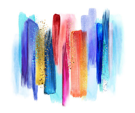 abstract watercolor brush strokes isolated on white background, paint smears, red blue palette swatches, modern wall art