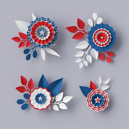 blue party: 3d render, digital illustration, abstract red blue paper flowers, design elements set, party decoration, 4th july patriotic background, USA independence day celebration Stock Photo