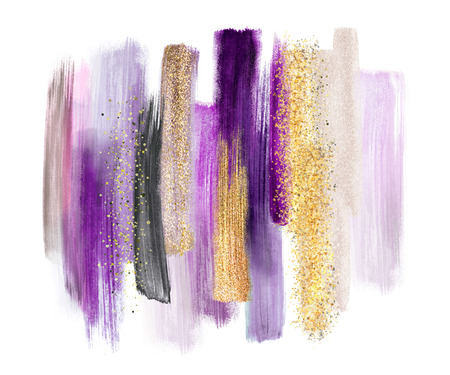 abstract watercolor brush strokes isolated on white background, paint smears, purple gold, palette swatches, modern wall art Stockfoto