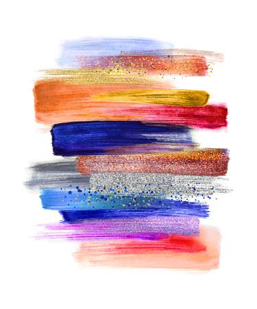 흰색 배경, 페인트 얼룩, 열 대 색 팔레트 견본, 현대 벽 예술을 격리하는 추상 수채화 브러쉬 선 스톡 콘텐츠