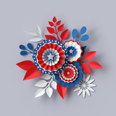 blue party: 3d render, digital illustration, abstract red blue paper flowers, party decoration, 4th july patriotic background, USA independence day celebration Stock Photo
