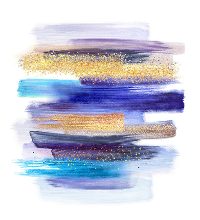abstract watercolor brush strokes isolated on white background, paint smears, blue gold pastel palette swatches, modern wall art Standard-Bild