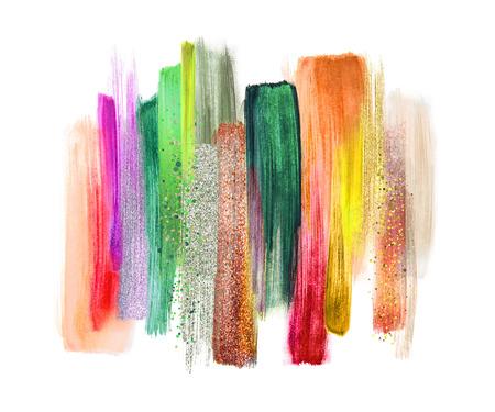 Abstracte aquarel penseel strepen geïsoleerd op een witte achtergrond, verf smears, tropische kleuren palet stalen, moderne muur kunst Stockfoto - 80622941