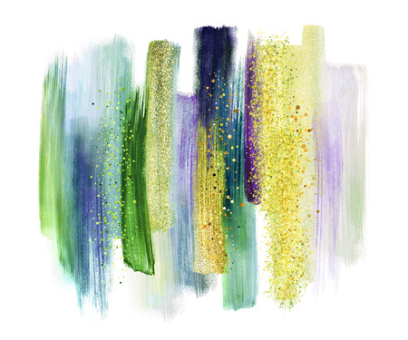swatches: abstract watercolor brush strokes isolated on white background, paint smears, green tones, palette swatches, modern wall art