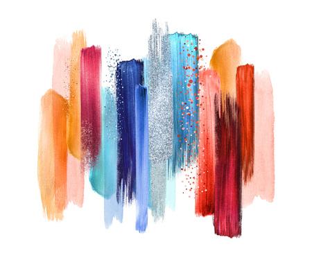 Pinceladas de acuarela abstracta sobre fondo blanco, manchas de pintura, muestras de paleta azul rojo, arte de pared moderna Foto de archivo - 80620238