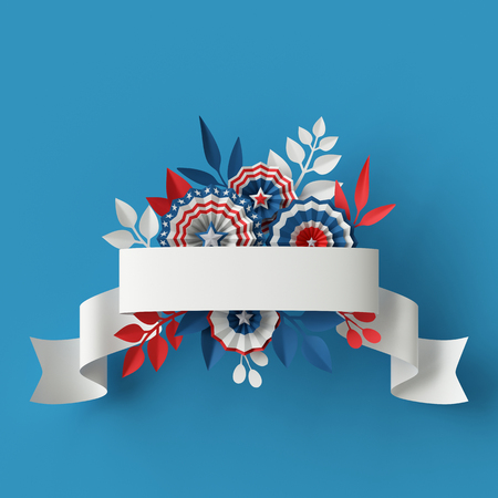 holiday party: 3d render, digital illustration, abstract red blue paper flowers, ribbon design element, 4th july patriotic background, USA independence day banner, invitation, greeting card template