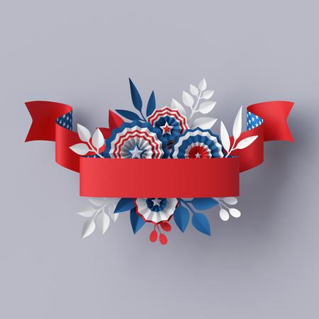 3d render, fleurs abstraites de papier bleu rouge, élément de conception de ruban rouge, fond patriotique de 4 juillet, bannière de la journée de l'indépendance des États-Unis, invitation, modèle de carte de voeux