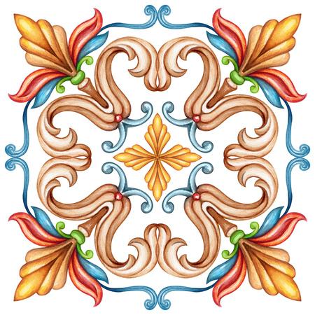 水彩イラスト、抽象的な装飾的な背景、ビンテージ パターン、中世アカンサス、セラミック タイルの飾り、万華鏡、マンダラ