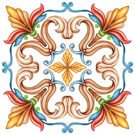 watercolor illustration, abstract decorative background, vintage pattern, medieval acanthus, ceramic tile ornament, kaleidoscope, mandala Stock fotó