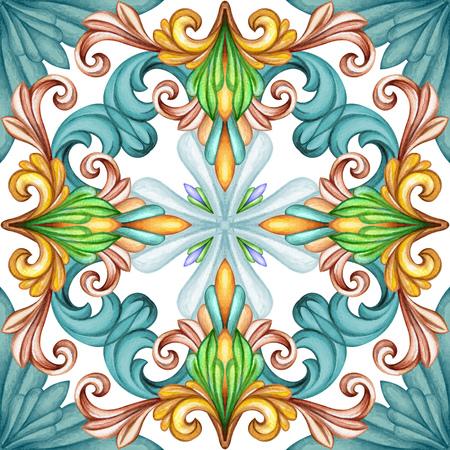 antique: watercolor illustration, abstract decorative background, vintage pattern, medieval acanthus, ceramic tile ornament, kaleidoscope, mandala Stock Photo