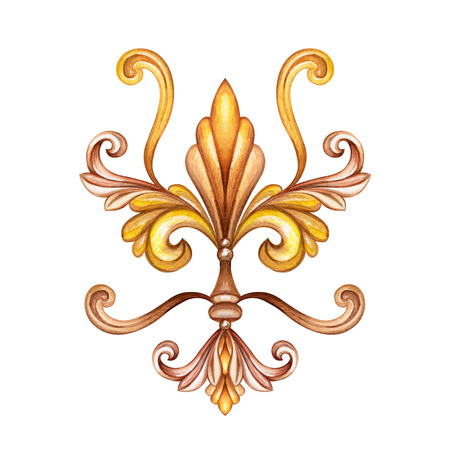 watercolor illustration, fleur de lis, acanthus, abstract decorative element, isolated on white background, vintage ornament clip art