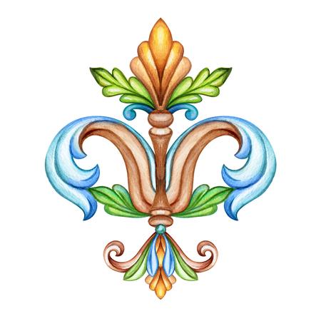 watercolor illustration, fleur de lis, acanthus, abstract decorative element, isolated on white background, vintage ornament clip art