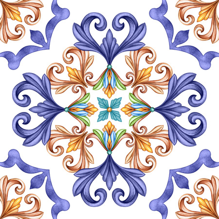 abstract seamless classic pattern, antique mosaic ornament, medieval acanthus background, mosaic ceramic tile, kaleidoscope Stock Photo