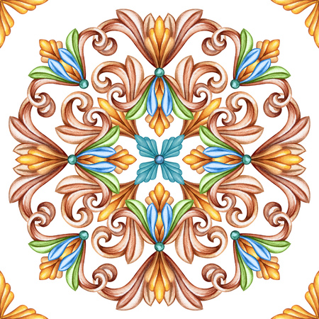 fleur of lis: abstract seamless pattern, classic design, antique mosaic ornament, medieval acanthus background, mosaic ceramic tile, kaleidoscope Stock Photo