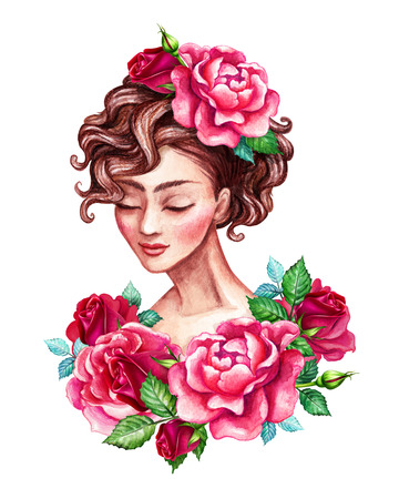 romantic woman: watercolor illustration, beautiful young woman portrait, romantic sophisticated lady, short curly hair decorated with red rose flowers, clip art isolated on white background Stock Photo