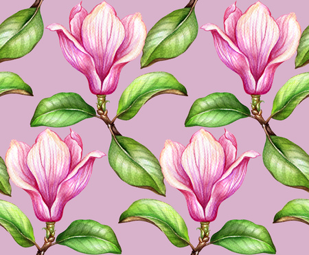 seamless pattern, watercolor botanical illustration, magnolia flowers, green leaves, spring nature, floral background, blooming wallpaper