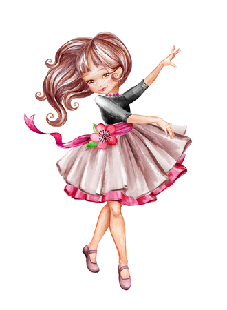 watercolor illustration, cute little ballerina, young girl wearing tutu skirt, dancing child, doll, clip art isolated on white background