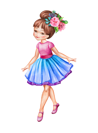 watercolor illustration, cute little ballerina, young girl wearing blue tutu skirt, dancing child, doll, walking clip art isolated on white background