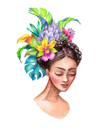watercolor illustration, beautiful young woman portrait, wearing tropical flowers crown, wild jungle, clip art isolated on white background