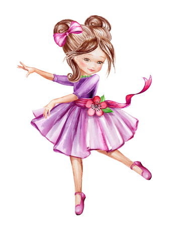 watercolor illustration, cute little ballerina, young girl in pink dress dancing, child, doll, clip art isolated on white background