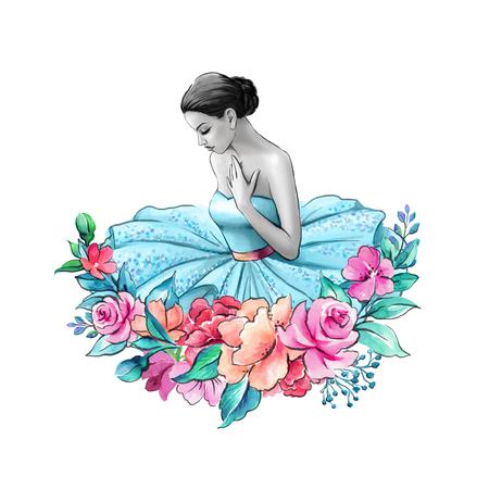 Aquarel illustratie, ballerina portret geïsoleerd op een witte achtergrond, bloemen decor, jonge dame draag blauwe jurk