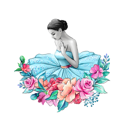 watercolor illustration, ballerina portrait isolated on white background, floral decor, young lady wearing blue dress Stock Photo