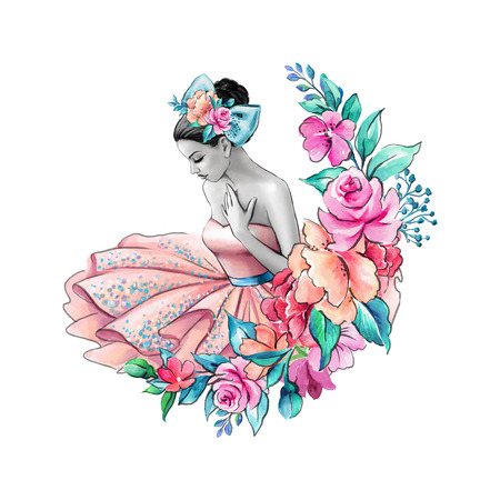 watercolor illustration, flower girl, floral wedding, young lady portrait, pink dress, ballerina isolated on white background Stock Illustration - 80866561