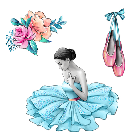 watercolor illustration, ballerina in blue dress, flowers, shoes, vintage fashion accessories isolated on white background