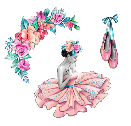 watercolor illustration, ballerina in pink dress, flowers, shoes, retro fashion accessories isolated on white background
