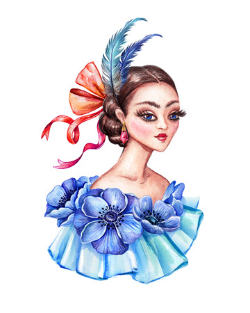 watercolor illustration, beautiful young woman portrait, Victorian lady, floral dress, blue anemone flowers, feathers, hair style, vintage clip art isolated on white background Stock Photo