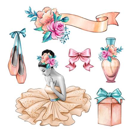 Aquarel illustratie, ballerina, mooie dame portret, bloemen, geschenkdoos, bruiloft uitnodiging, ontwerpset elementen, mode-accessoires geïsoleerd op een witte achtergrond