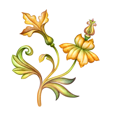 watercolor illustration, yellow flowers, green leaves, antique design element, medieval floral ornament, vintage pattern, clip art isolated on white background