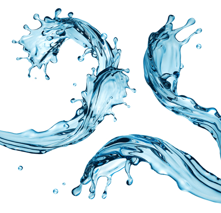 3d render, digital illustration, blue water wave, jets, liquid splash isolated on white