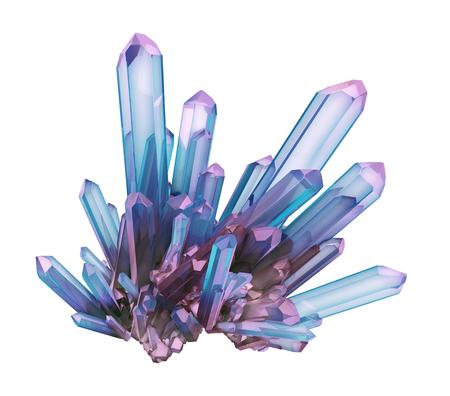 3d render, blauen Kristall isoliert auf weißem Hintergrund, Juwel, natürliche Nugget, esoterischen Zubehör Standard-Bild