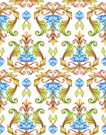 graphic: seamless floral pattern, medieval damask background, watercolor hand painted illustration, blue flowers and green leaves isolated on white, vintage botanical wallpaper