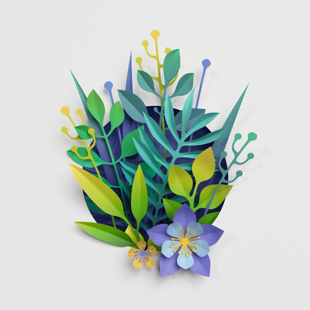 3d render, paper cut decor, meadow flowers and herbs,earth day greeting card, isolated botanical clip art elements