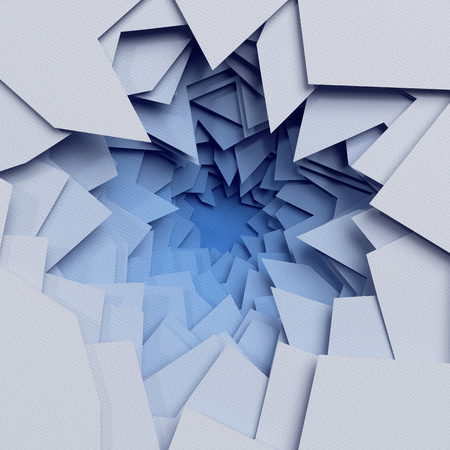 3d render, abstract layered background, paper cut hole, blue white shapes