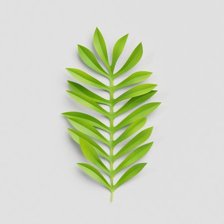 3d render, paper cut decor, green palm leaf, isolated botanical clip art element
