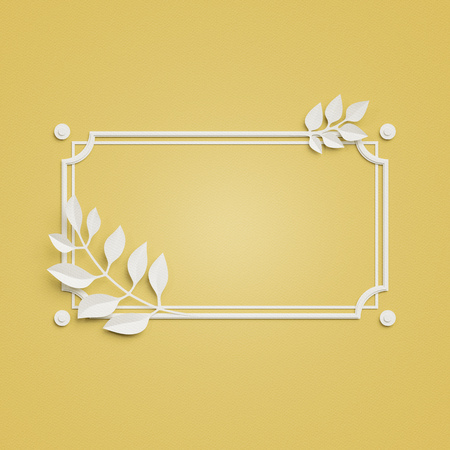 decoration: 3d render, yellow paper craft background, palm leaves, poster frame, cover, banner, label Stock Photo