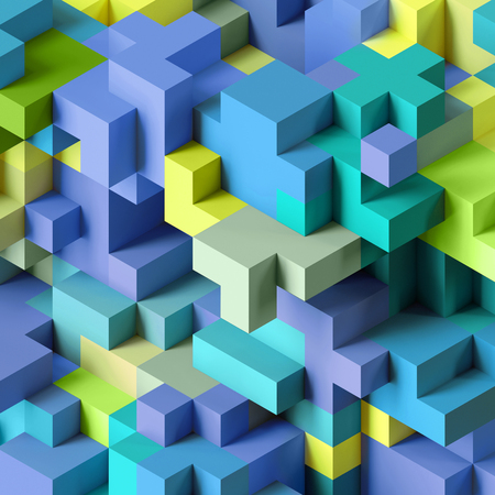 3d render, abstract geometric background, colorful constructor, logic game, cubic mosaic structure, isometric wallpaper, blue green cubes Stockfoto