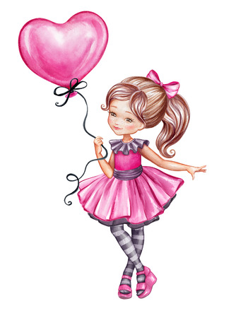 watercolor illustration, cute girl in pink dress holding pink balloon, little coquette, Valentines Day greeting card, child, isolated on white background Stock Photo