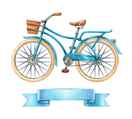girlish: watercolor illustration, blue bicycle, retro bike, blank ribbon tag, banner, label, transport clip art isolated on white background
