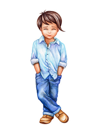 watercolor illustration, cute little boy in blue jeans, schoolboy, teenager, isolated on white background