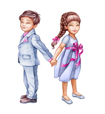chic woman: watercolor illustration, romantic couple, cute kids, best friends, boy and girl holding hands, wedding card, children clip art isolated on white background Stock Photo