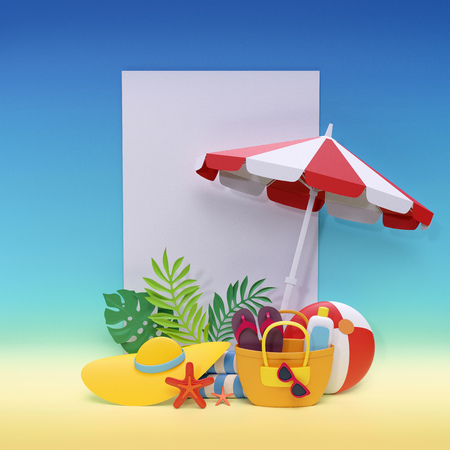 3d render, digital illustration, paper craft, summer holiday, beach picnic, tropical leaves, blank banner, white page