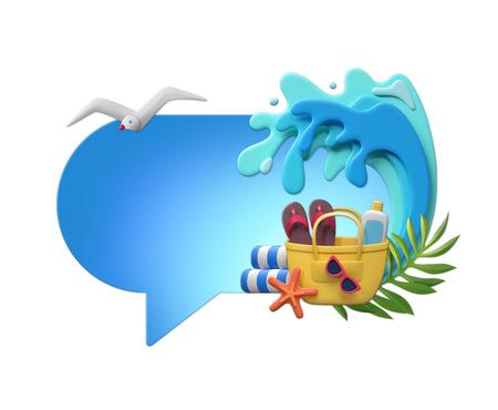 3d render, digital illustration, paper craft, summer holiday, beach picnic, sea wave, blank banner, card template, talking balloon, speech bubble