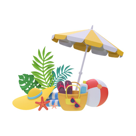 3d render, digital illustration, paper craft, summer holiday, beach picnic, tropical spa resort, vacation, design elements, clip art isolated on white background