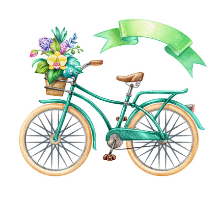 watercolor illustration, green bicycle, hipster bike, blank ribbon tag, banner, label, tropical flowers, holiday clip art isolated on white background Stock fotó