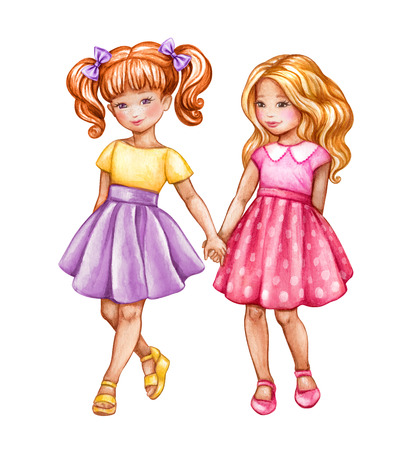 watercolor illustration, best friends, cute girls holding hands, children, teenagers clip art isolated on white background Stock Photo